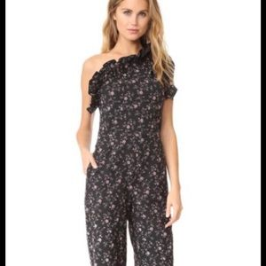 Rebecca Taylor Black Floral One-Shoulder Jumpsuit